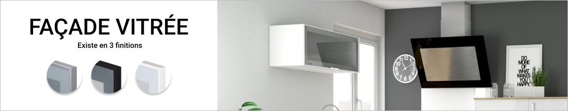 meuble haut & bas cuisine vitré, porte vitrée noir, blanc ou alu