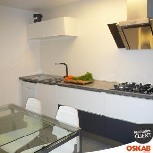 Cuisine bicolore blanche et noir mat tres lumineuse oskab - Cuisine bicolore ...