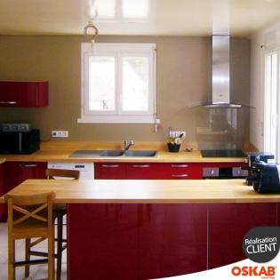 Cuisine equipee rouge parall le ouverte sur s jour for Cuisine ouverte rouge