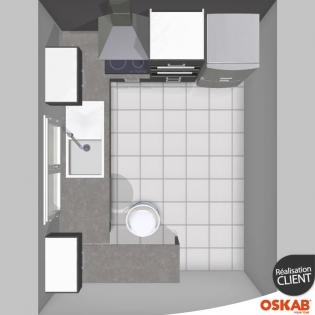 cuisine gris anthracite d cor mat en l prolong e en table oskab. Black Bedroom Furniture Sets. Home Design Ideas