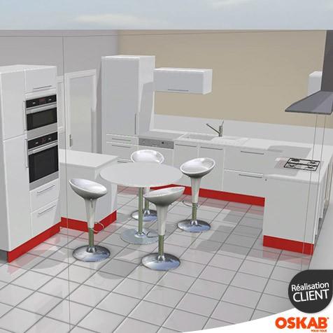 Cuisine ouverte rouge et blanc brillant oskab - Cuisine ouverte rouge ...