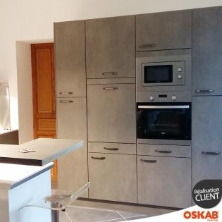grande cuisine ouverte d cor b ton avec snack oskab. Black Bedroom Furniture Sets. Home Design Ideas