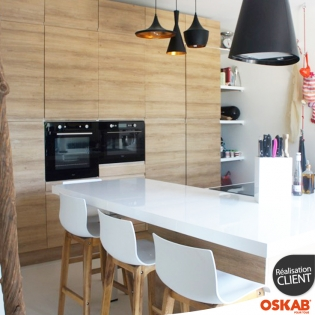 Grande cuisine ouverte et sans poign e d cor bois oskab for Cuisine ouverte nature