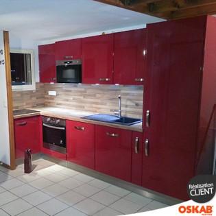 Cuisine rouge moderne en l d cor brillant oskab for Oskab cuisine 3d
