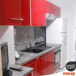 Petite cuisine moderne rouge brillante et beton gris oskab for Petite cuisine rouge