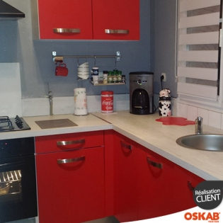 petite cuisine moderne rouge mat et plan de travail en bois oskab. Black Bedroom Furniture Sets. Home Design Ideas