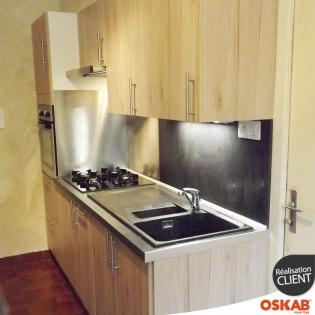 petite cuisine parallele en bois clair oskab. Black Bedroom Furniture Sets. Home Design Ideas