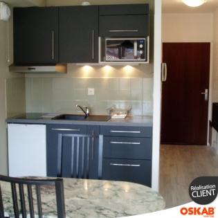 Petite cuisine studio meubl grise et moderne d cor mat for Meuble cuisine studio