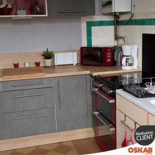 R novation petite cuisine d cors b ton et bois oskab for Renovation petite cuisine
